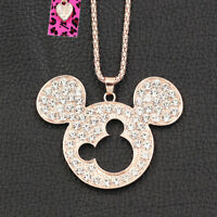 Betsey Johnson Crystal Rhinestone Mickey Mouse Pendant Sweater Chain Necklace