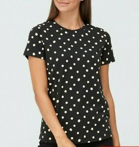 New Womens Very The All-Over Spot Print Tee Top - Black - Sz- 6 (4EP)