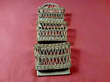 PAINTABLE NATURAL WICKER LETTER MAIL BILL STORAGE HOLDER, TIKI BAR, HOME, OFFICE