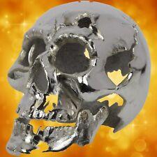 Halloween SILVER PAINTED Totenkopf Teelicht Tropfart Curios ausgefallen Geschenk