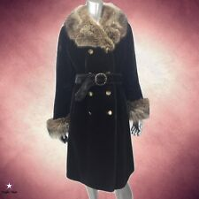Vintage 70's COAT Dark Brown Faux Fur with real FOX Collar & Cuffs Belted M L