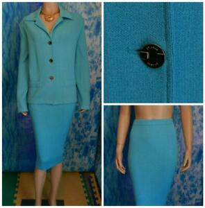 ST. JOHN COLLECTION KNITS Teal Blue JACKET New SKIRT XL 16 18 2pc Suit Pockets