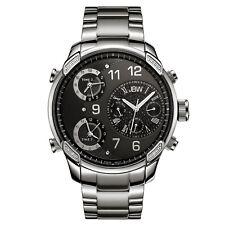 RARE JBW Men's G4 J6248B Stainless Steel Multi-Time Zone Swiss Diamond Watch