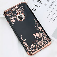 For iPhone X 6s 7 Plus Shockproof TPU Soft Case Rubber Bumper Floral Back Cover