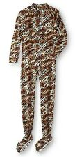 Leopard Print One Piece Zip-Up Footed PAJAMAS Women's Medium M NeW Pjs Tiger NWT