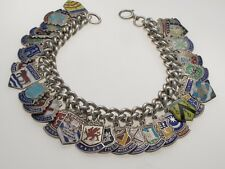 Vintage Sterling Silver Heavy weight Charm Bracelet 33 Enamel UK Travel Shields