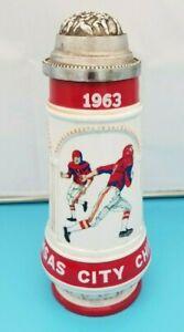 KANSAS CITY CHIEFS AFL FOOTBALL GERMAN STEIN MUG - 1963 FIRST YEAR - ORIGINAL