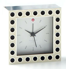 "Kate Spade Cross Pointe Spots Small Desk Clock Silver/Black Dots 3.5"" New"