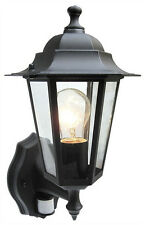 PIR Motion Sensor Security Wall Light Garden Lantern 6 Sided Black With Bulb