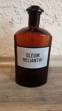 ANTIQUE APOTHECARY GLASS BOTTLE MEDICAL OLEUM HELIANTHI