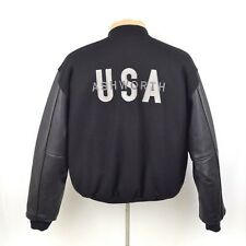 Golden Bear San Francisco Ashworth Varsity Jacket In Black Wool Leather Sleeves