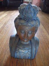 "12"" Quan Yin Bust Statue Bronze-Look NWT Exquisite Detail"