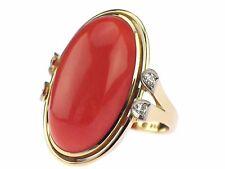 Art Deco 585 Gelb Gold Sizilianische Lachs Koralle Cabochon Brillant Damen Ring