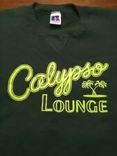 Vintage Russell Sweatshirt Calypso Lounge Green Neon Palm Trees Med Faded Nice!