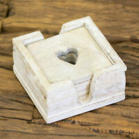6 Pack Shabby Chic White Grey Wooden Heart Cut Out Coasters With Holder