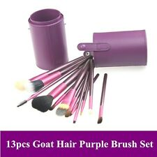 New 13pcs high quality goat hair purple color makeup brushes set with cylinder