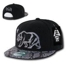 California Republic Black & Gray Snake Print Flat Bill Snapback Baseball Cap Hat