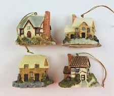 Ceramic Christmas Ornaments Village Miniature Houses German 1 6/8� Tall Lot of 4
