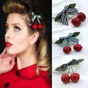 Fashion Women Girls Cherry Bow Hair Clip Korean Style Vintage Hair Accessories