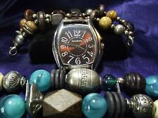 Woman's Narmi Watch with 2 Beaded Bands **Turquoise & Brown**Vintage** B77-B078