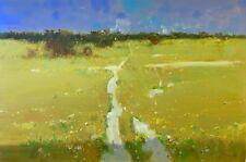 Meadow, Landscape Original Oil painting, Large Size handmade artwork, Signed