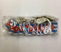 12 Pieces Cuban Flag Keychain Plastic Double Sided new great souvenir