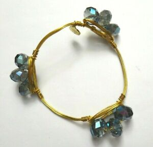 Bourbon and Boweties Bangle Bracelet AB Blue Crystal Beads, Gold Plated w/Tag