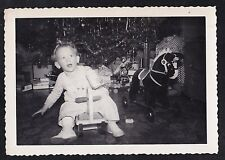 Antique Vintage Photograph Baby on Little Bike - Christmas Tree - Ride On Horse