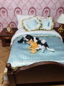 OOAK Realistic dog with a kitten cat Dollhouse Handmade IGMA ARTISAN