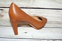 MILANA Made In Italy Brand Camel Peep Toe Leather Slip On Heels Size 38 LIKE NEW