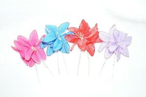 Set of 4 Hair Flowers w/ Glitter - Red / Purple / Blue / Pink - Hair Sticks