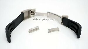 Rubber Watch Strap with Curved Solid End Links For ROLEX Submariner, Rolex GMT