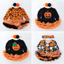 Toddler Baby Girls Halloween Pumpkin Outfits Ghost Romper Tutu Dress Costume Set