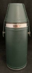 "Bey Berk 8 oz Green Leather Cylinder Stainless Steel Flask Thermos Look 6"" Tall"