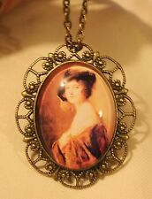 Scalloped Brasstn Portrait of Lady with Shawl & Jaunty Hat Cameo Necklace Brooch