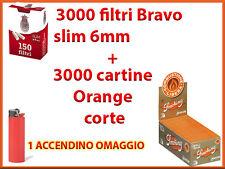 3000 CARTINE SMOKING ARANCIONI CORTE ORANGE + 3000 FILTRI BRAVO SLIM 6 mm
