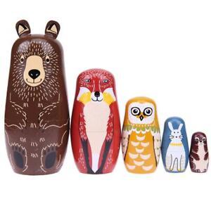 5pcs Bear Ears Russian Matryoshka Doll Wooden Nesting Dolls Baby Toys Gifts