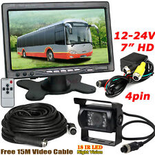 "12V-24V Bus Truck Trailer 18LEDs IR Waterproof Backup Camera+4Pin 7"" LCD Monitor"