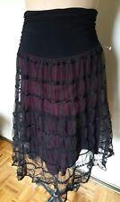 Lovely LUSH black & violet high long stretch waist sequins sheer tulle skirt M