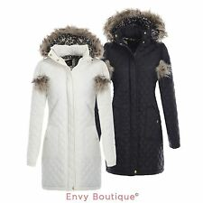 BRAVE SOUL LADIES QUILTED FUR HOODED POP POM PARKA WOMENS JACKET COAT