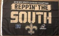 NEW ORLEANS SAINTS 2018 NFC SOUTH CHAMPIONS Reppin The South Flag 3 ' X 5 ' Feet