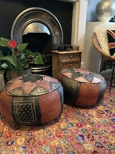Vintage Pair Morrocan Leather Pouffe Pouffes Boho 70s Footstool Handcrafted
