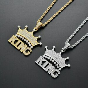 Crown King Hip Hop Pendant Cubic Zircon Blinged Out Gold Silver Finish Necklace