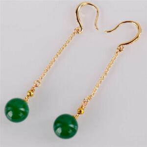 12MM green agate beads Earrings Dangle 18KGP Chain Ms gift Lucky Women Ear stud