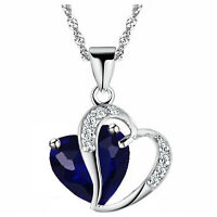Sapphire Dark Blue & Silver Two  Hearts Pendant Crystal Necklace N342