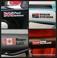 2 Personalised bike frame/helmet Name Stickers Decals + Flag.The BEST & ORIGINAL