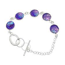 Handmade Shiny Sea Mermaid Scales Silver Charm Bracelet Bangle Jewellery Gifts