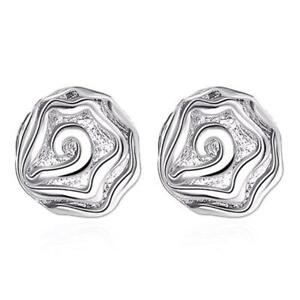 *UK* Silver Plated Rose Flower Filigree Stud Earrings Blossom Bloom Ladies Gift
