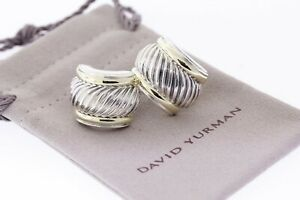 DAVID YURMAN Sterling & 14k Yellow Gold Thoroughbred Cable Omega Back Earrings