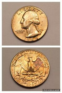 1984 P Golden George Washington US Quarter Dollar, Collectible Gold Toned Coin
